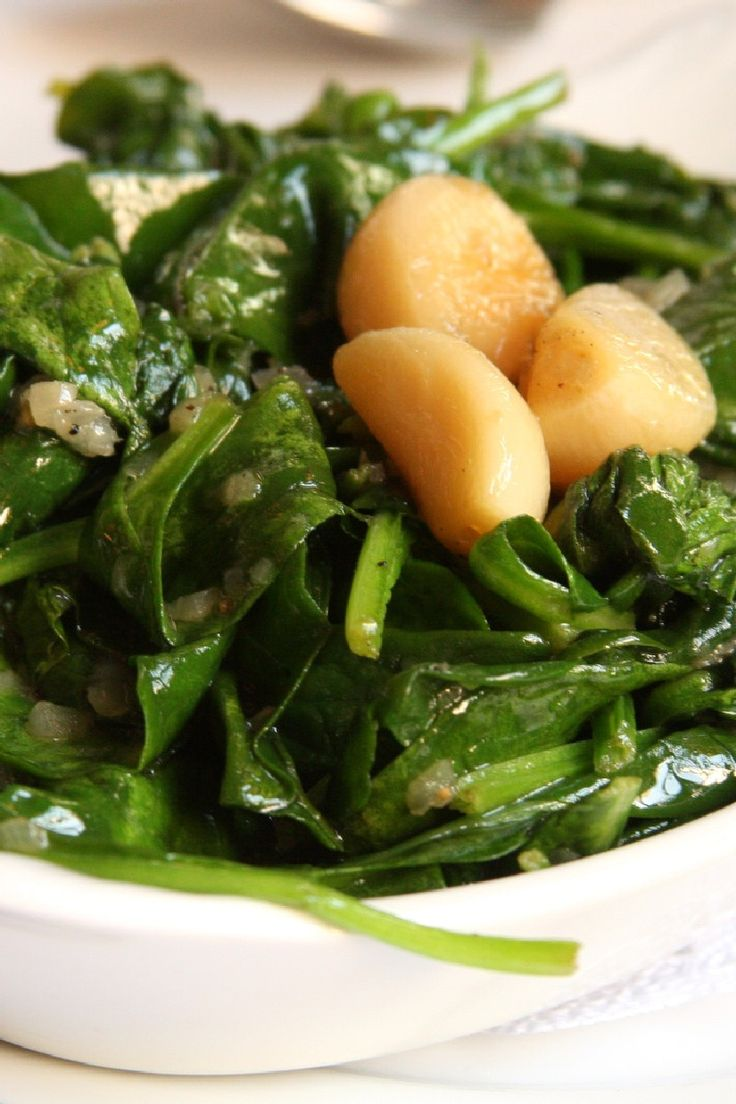 Garlic Sauteed Spinach.  Make this all the time... never thought of covering pot..