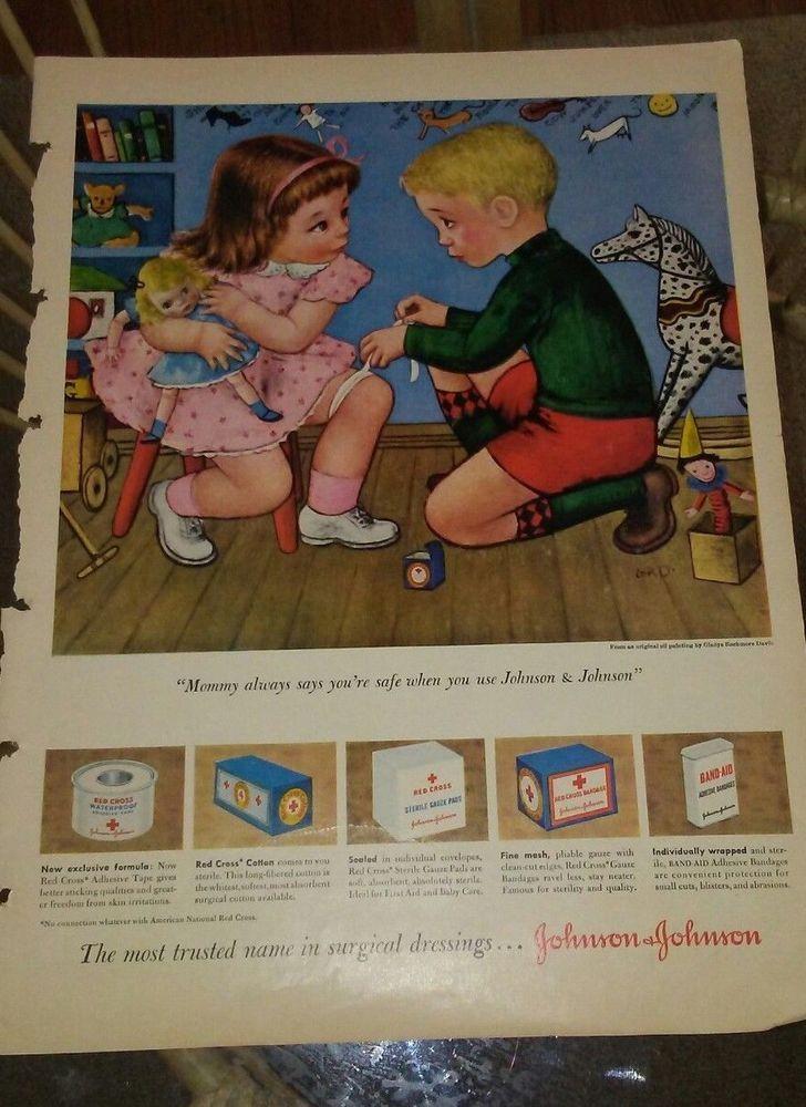 1950's JOHNSON & JOHNSON Band-aids Bandages Vintage Art  ad