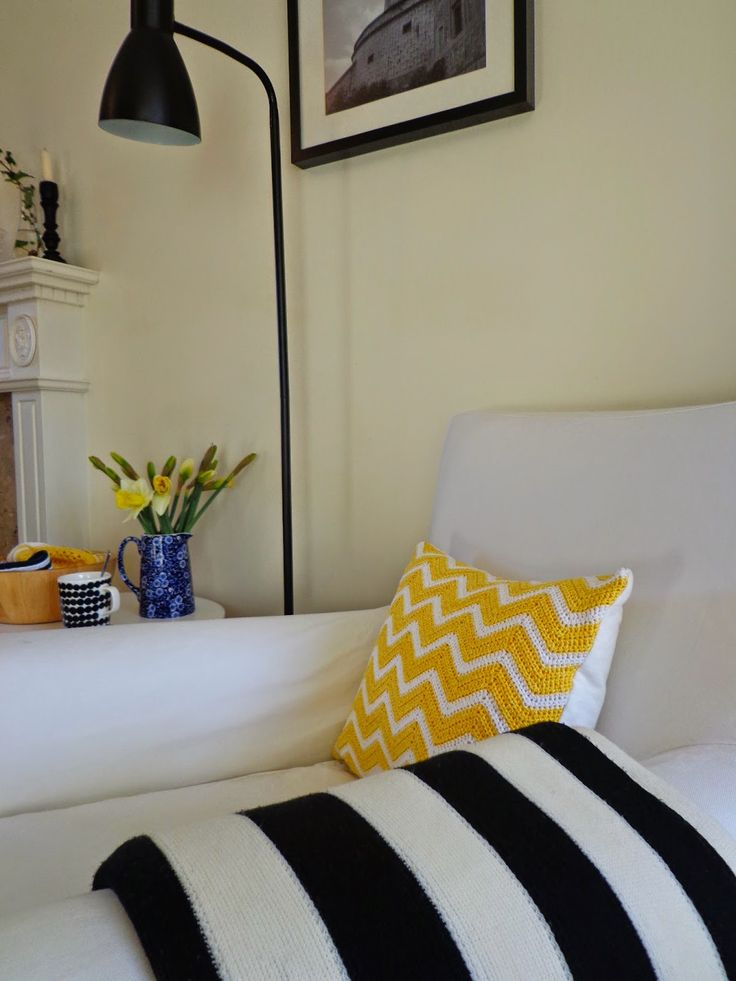 Yellow chevron crochet cushion