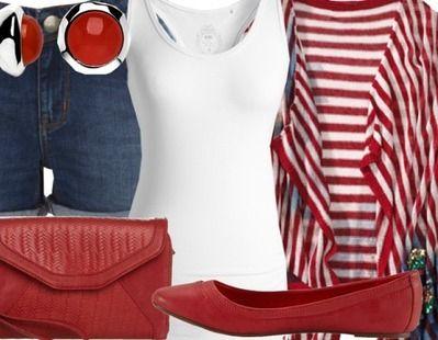 Jeans, T-Shirt weiss, rot-weiss gestreifte Jacke, rote Ballerinas