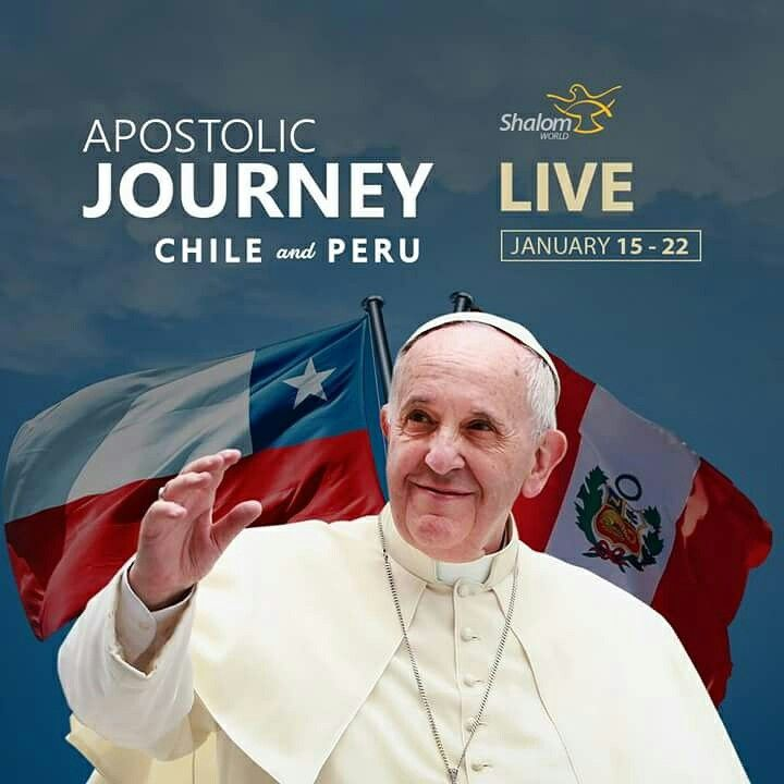 Shalom World brings you the LIVE coverage of Pope Francis' apostolic journey to Chile and Peru from January 15 - 22.  Watch SHALOM WORLD on Apple TV, Roku, Amazon Fire TV, Samsung TV, Android TV, Kindle Fire HD, on your iPhone, iPad, Android Phone, and online at www.ShalomWorldTV.org/live  #ShalomWorld #Chile #Peru #PopeFrancis #PapalAudience #ApostolicJourney #LatinAmerica