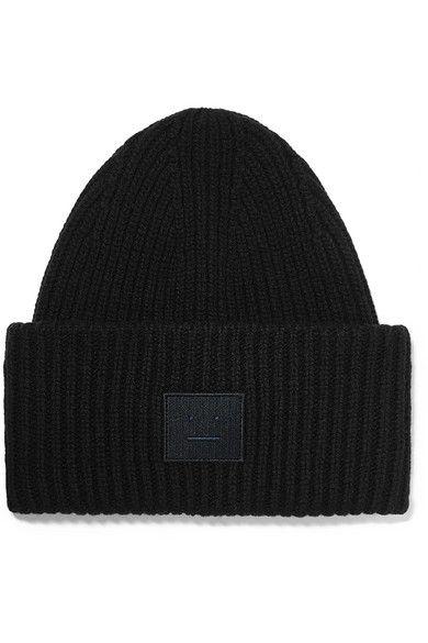 7320406215a Acne Studios - Pansy Face Appliquéd Ribbed Wool Beanie - Black ...