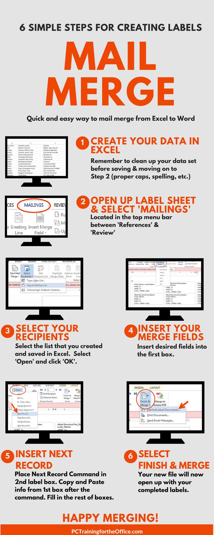 Infographic: 6 simple steps on how to do a mail merge for labels. The infographic is shareable, printable, and makes it easy to post on your desk. www.hydra.pt  #microsoft soluções TI #tecnologias #mailmerge