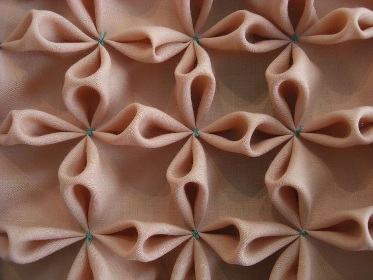 Flower Smocking - fabric manipulation sample; creative sewing techniques; textiles design // Siripirun Saritasurarak