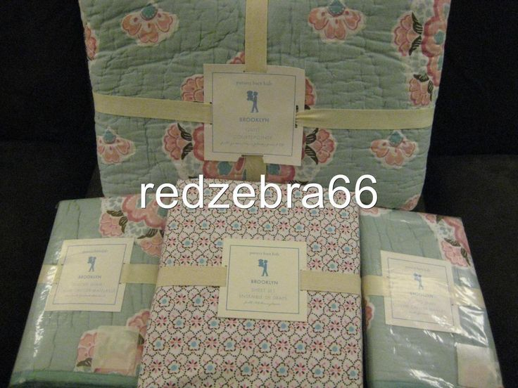 Kids at Home: Pottery Barn Kids Aqua Brooklyn Full Quilt+Shams+Sheet Set 7-Pc New Pink/Blue -> BUY IT NOW ONLY: $299.99 on eBay!