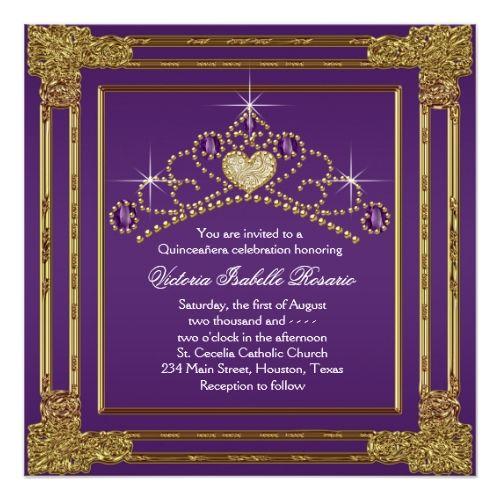 Quinceanera Invitations Elegant Purple and Gold Quinceanera Card