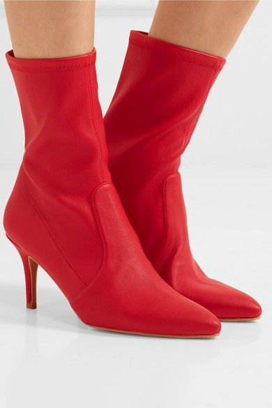 Heel measures approximately 85mm/ 3.5 inches Red leather Pull on Made in Spain