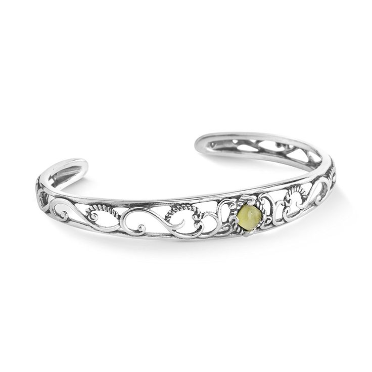Carolyn Pollack Genuine .925 Sterling Silver Green Peridot Filigree Bracelet * Learn more by visiting the image link.