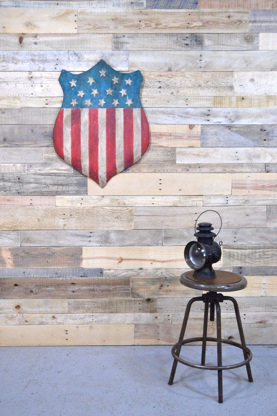 Original American Flag Folk Art Painted Wood Shield, Vintage Trade Sign