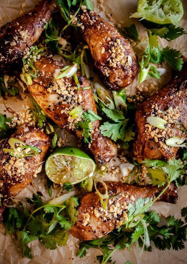 Spicy Peanut Ginger Drumsticks by bloggingoverthyme #Chicken #Peanut #Ginger
