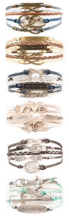 Our best selling layered charm bracelets - over 100 other designs in a variety of colors and designs. So many choices you'll want more than one! www.1planet7billionworlds.com