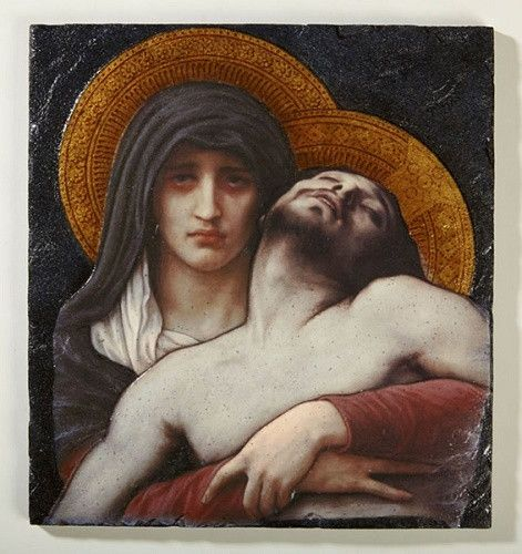 The Pieta Icon Plaque By Artist Bouguereau