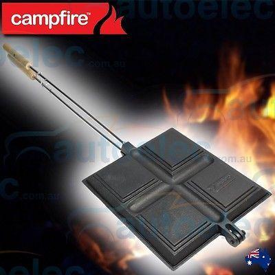 QUAD 4 JAFFLE IRON CAST IRON FIRE SANDWICH CAMPING COOKER COOKING CAMPFIRE P54QD