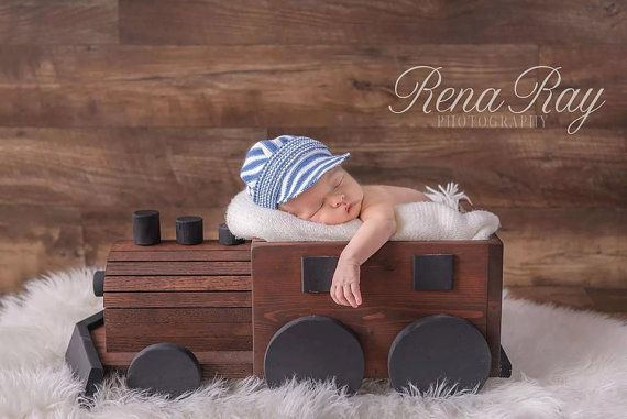 Newborn Wooden Train photo prop. Wooden by TheIttyBittyPropShop