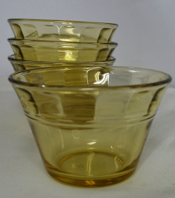 Amber Glass Small Bowls Set of 4 by AntiqueRetroVintage on Etsy, $10.00