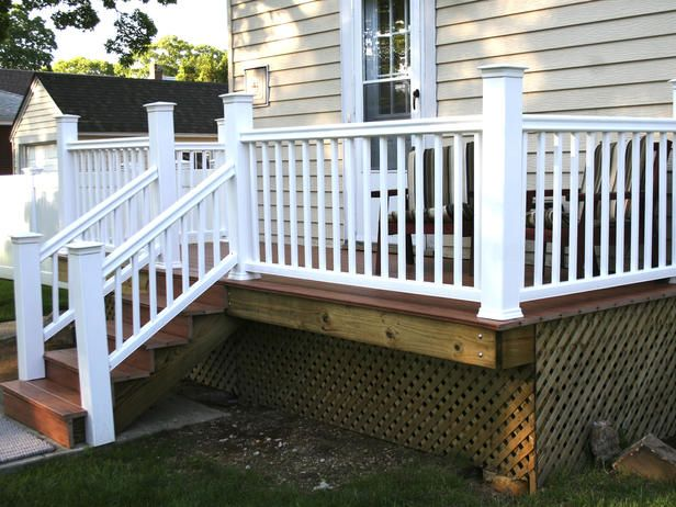 How to Build a Simple Deck  Learn basic deck construction with this easy design.  DIY  I Don't care for the look of this one, but you can tailor it to your style