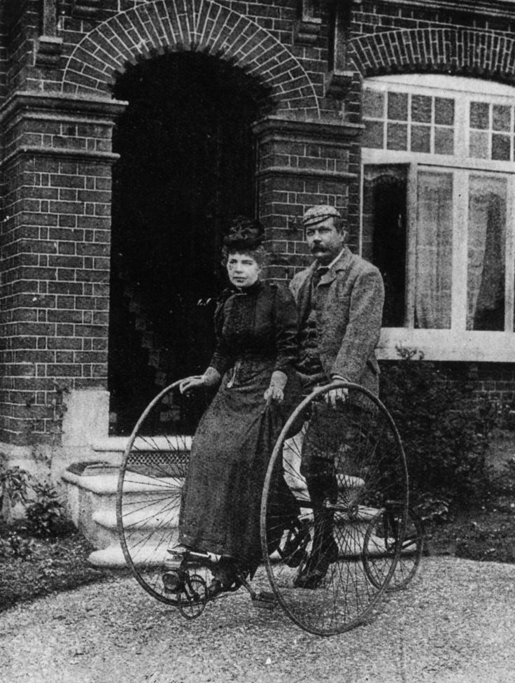 Writer of the Sherlock Holmes mysteries, Dr. Conan Doyle (1859–1930) on a tandem with his wife. c.1895