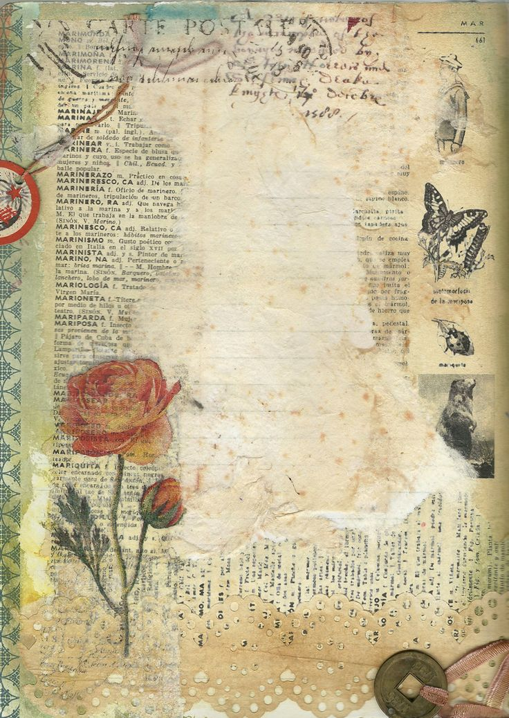 ink, tissues, paint, vintage French dictionary page with a rose