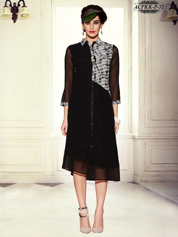 Stunning Black Color Georgette Kurti..  www.glamyshop.com
