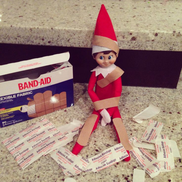 Pinned it, did it...2015, Elf got into the band-aids. I put them covered in band-aids with some of the wrappers on bar to find - TR