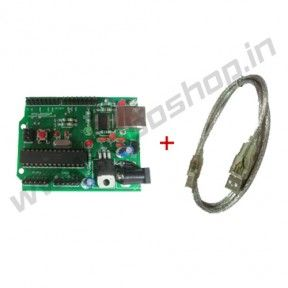 Roboduino ATmega328 + Cable Product Code: RS-1018 Availability: In Stock Price: Rs. 667.00  http://www.roboshop.in/arduino-boards/roboduino-atmega328-plus-cable