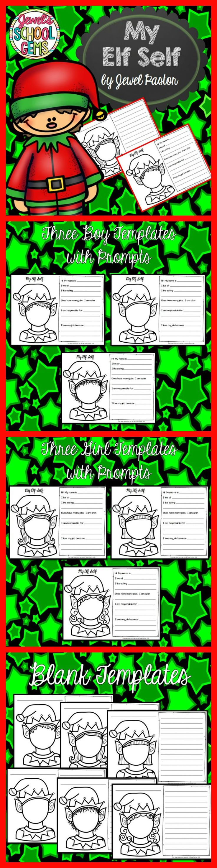 CHRISTMAS WRITING: MY ELF SELF  Have your students enjoy creative writing during the Christmas season with My Elf Self sheets.  This packet comes with six blackline templates -- three boy templates and three girl templates. Each sheet contains a blank elf boy/girl face that your students can draw their own faces on depending on their own or desired hairstyle. Each sheet also has incomplete sentences that students can fill in to write their ideas about what an elf's life is like.