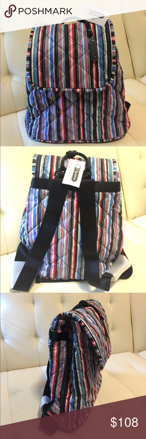 "NWT LeSportsac Beverly Stripe Quilted backpack 🎒 NWT LeSportsac Beverly Stripe Quilted backpack 🎒Watercolor Stripe 13"" H x 12.5"" W x 4.5"" D LeSportsac Bags Backpacks"