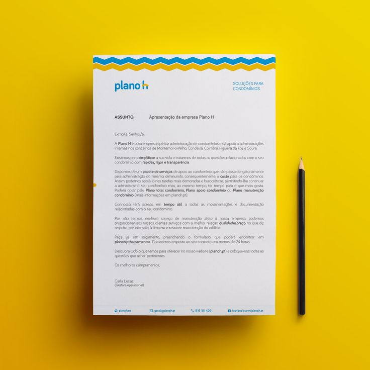 A4 letter mockup for Planoh