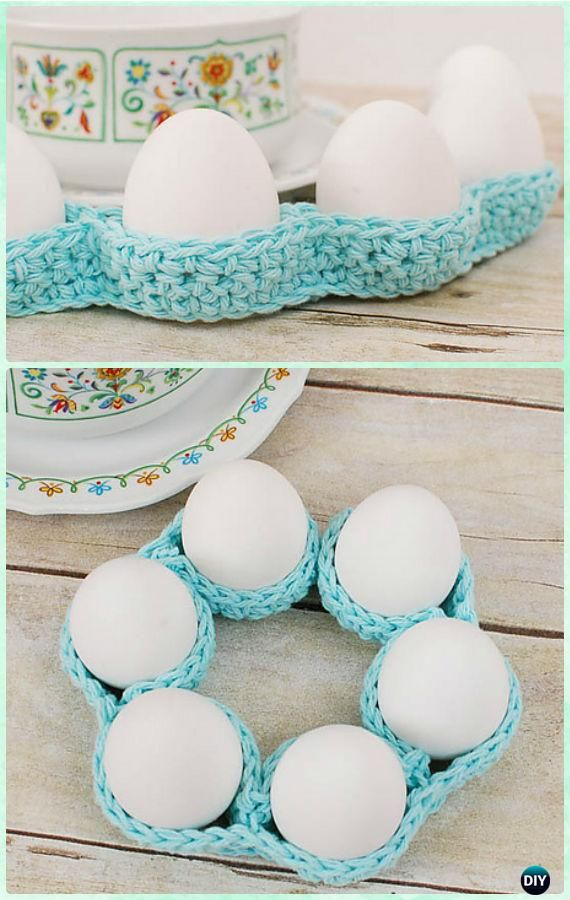 Crochet Easter Egg Tray Table Decor Free Pattern - Crochet Easter Egg Ideas [Free Patterns]