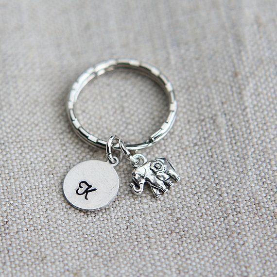 Good Luck Elephant Key Chain, Elephant Keyring, Tiny Elephant Key ring, Personalized Keychain, Monogram Initial keychain, Animal Key ring