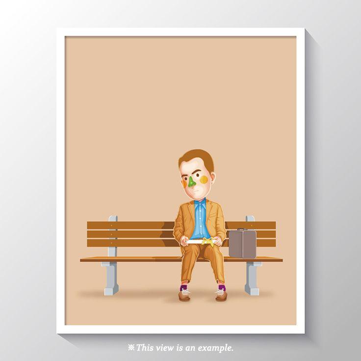 art poster design, art poster for classroom, wall art poster, art poster beautiful, modern art poster, art poster ideas, movie art poster, movie, illustration, illust, drawing art, drawing, Forrest Gump