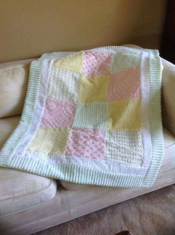 Pastel Quilt Chenille Pink Yellow Green Lap Blanket Baby