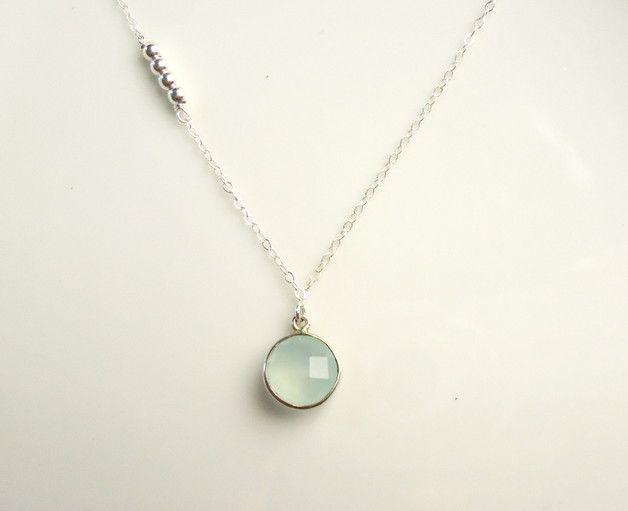 Kette mit Silberperlen und Aquachalcedon / necklace silver with Aquachalcedon by MinjasJuwelen via DaWanda.com