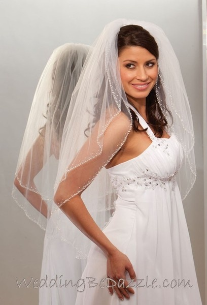 wedding hair style for 2 tier wedding veil beaded edge pearl edge available in 6730