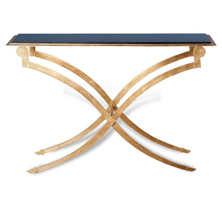 This Table Is Crafted With A Granite Top And Gold Leaf Legs. This Console  Table