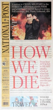 Bold front page from National Post (Toronto, ON, Canada, daily). One of this year's SND World's Best-Designed Newspapers.