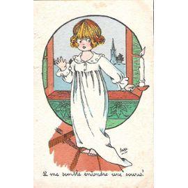 Carte Postale Il Me Semble Entendre Une Souris ( Fillette Escalier Bougie Chemise De Nuit )