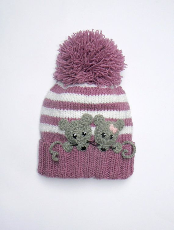 Knit Girls Hat with MICE,Pom Pom Hat, Winter Hat, Children Accessories, Kids Fashion, Pink White Stripes, Gray Mice, Ready to ship