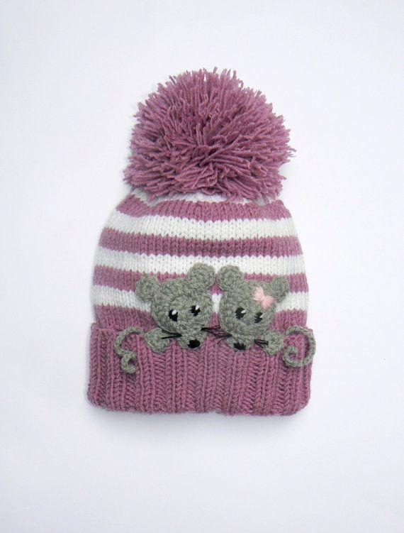 Knit Girls Hat with MICE,Pom Pom Hat, Winter Hat, Children Accessories, Kids…
