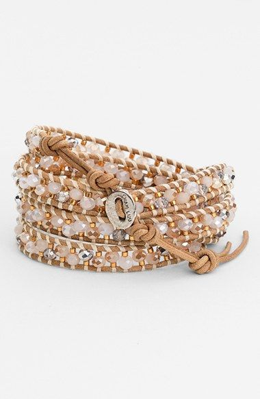 Instant stacked wrist! Obsessed with this leather beaded wrap bracelet.