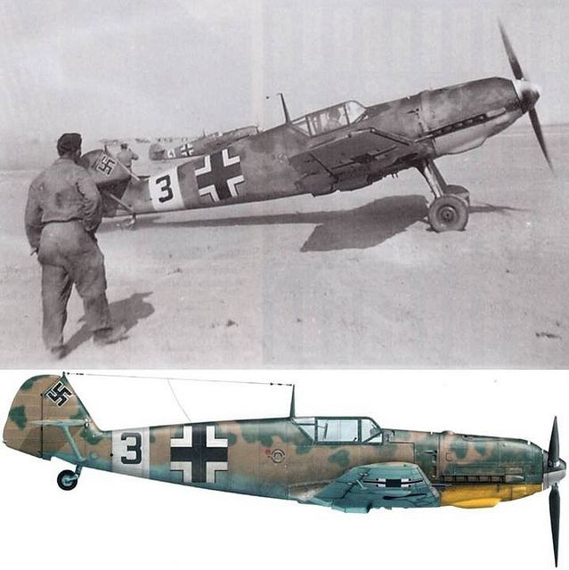 Two Messerschmitt Bf 109 E-7 of 2.(H)/Aufklärungsgruppe at take off in North Africa in late 1941 Source : Avions n°190