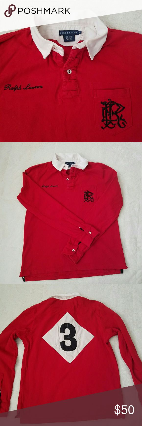 ⤵PRICE DROP⤵RL Women's Rugby Shirt NEVER WORN! Ralph Lauren women's Rugby Shirt in red with Navy embroidery. Nice, heavy cotton shirt with a white collar. Super comfy casual shirt! Love this one. Ralph Lauren Tops