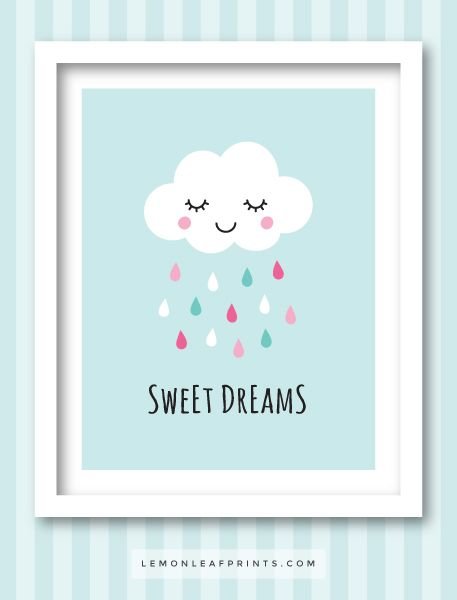 Sweet dreams print with cute, sleeping cloud and colorful raindrops. Wall art for kids. Nursery decor.