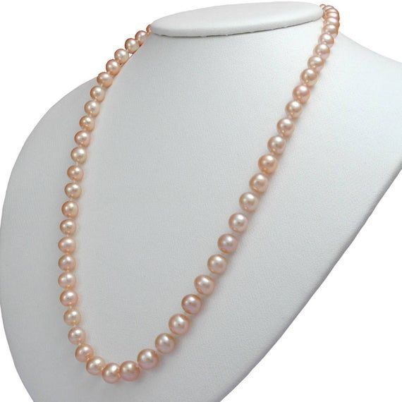 THE PEARL SOURCE 7-8mm AAA Quality Round Pink Freshwater Cultured Pearl Necklace for Women in 20 Matinee Length