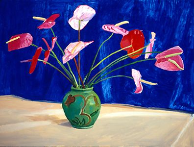 Antheriums, 1995 - David Hockney Painting - http://www.hockneypictures.com/works_paintings_90_13.php