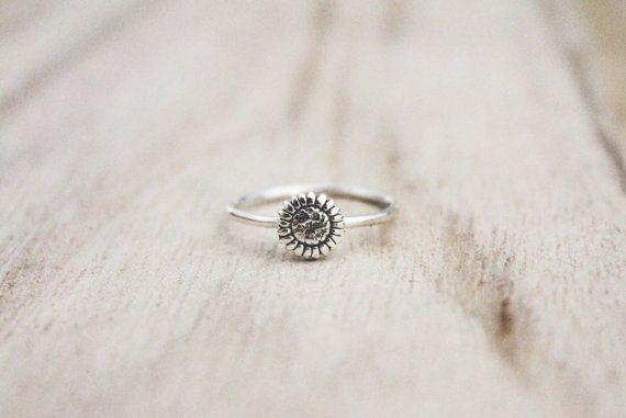 Sunflower ring sterling silver sun flower ring by CallieJewelry