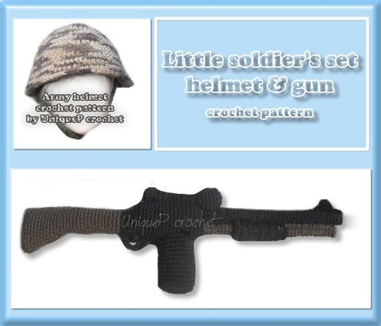 Pattern Crochet PDF  Army Helmet and gun toy For colt!