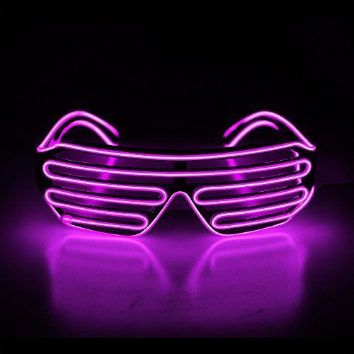 021f3442355 Aquat Light Up Shutter LED Neon Rave Glasses El Wire DJ Flashing Sunglasses  Glow Costumes Voice