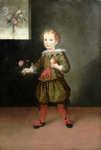 Circle of Pier Francesco Cittadini (Milan 1616-1681 Bologna) Portrait of a boy, full-length, in a green doublet and hose, holding a rose and an apple: