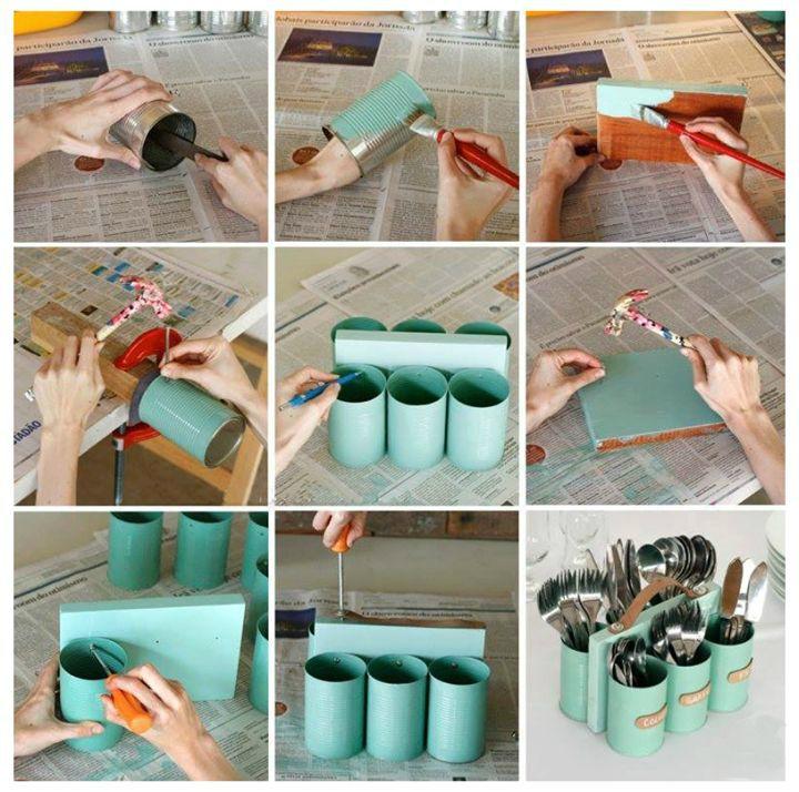 Faça você mesmo: porta talheres com latas e madeira. Gosta de DIY? Clique na imagem e confira nossa série!
